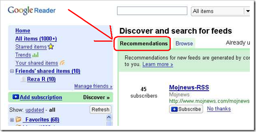 Google Reader Dicover