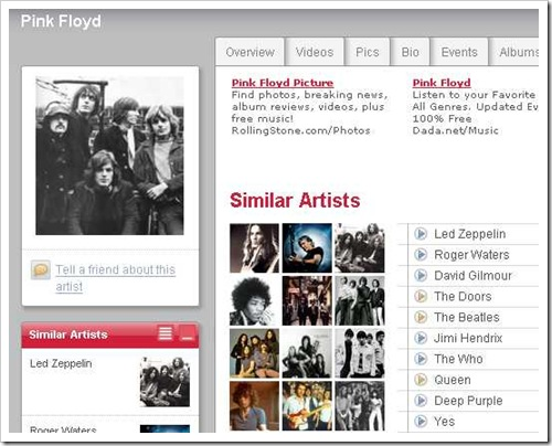 Similar to Pink Floyd at Last.fm