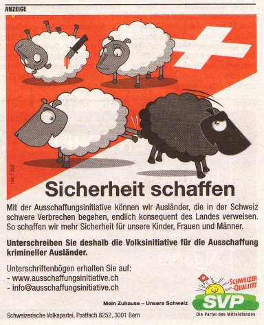 SVP 2007, cartoon from swiss peoples party, depicting the rise of xenophobism in Europe-bamdadi.com